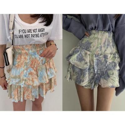 全2色 スカート フリル 切り替え バイカラー シンプル sweet系
