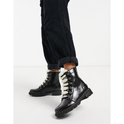 ソレル レディース ブーツ&レインブーツ シューズ Sorel Lennox Lace Cozy flat ankle boot in black patent with lining Black