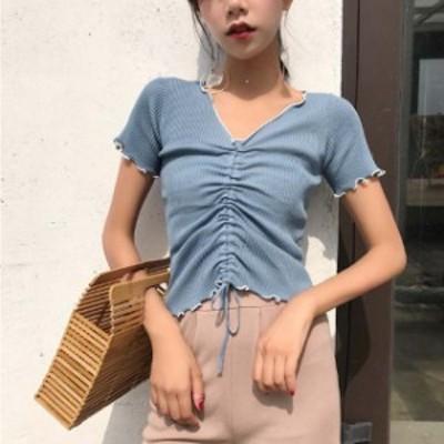 「即納」チュニックトップス短Tシャツ レース レディース 綿 コットン カットソー Vネック トップス 半袖 無地 大きいサイズ