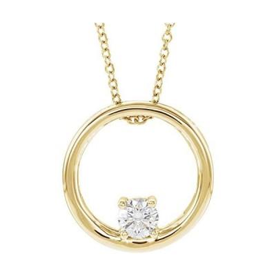 "14k Yellow Gold 5/8 CT Lab-Grown Diamond Circle 16-18"" Necklace for Women【並行輸入品】"