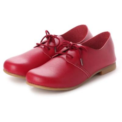 ラブ ピクル RUB PICLE 日本製/ナチュラル人工皮革ゆったりレースアップシューズ (RED)
