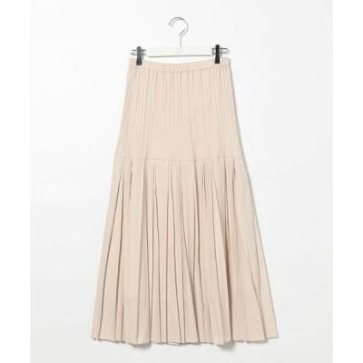 スカート シャンブレーツイルプリーツスカート