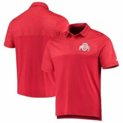 J America Sportswear ジェイ アメリカ スポーツウェア スポーツ用品  Ohio State Buckeyes Heathered Scarlet Colorblock Pixel Polo