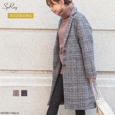 SpRay 【WEB限定】グレンチェックチェスターコート ブラウン M レディース