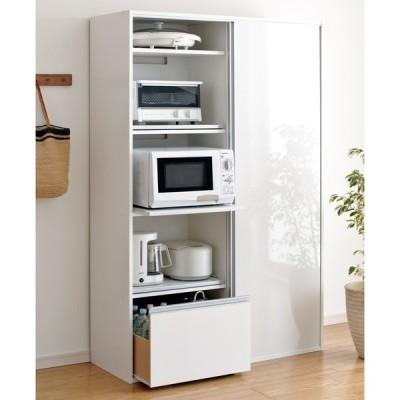 家具 収納 キッチン収納 食器棚 キッチンストッカー 食品ストッカー 全部隠せる スライド棚付きキッチン家電収納庫 ハイタイプ 569901