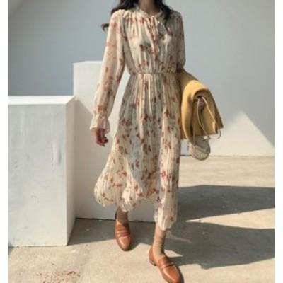 韓国 ファッション レディース ワンピース 花柄 ロング プリーツ フレア ハイウエスト 長袖 ゆったり きれいめ レトロ 大人可愛い フェミ