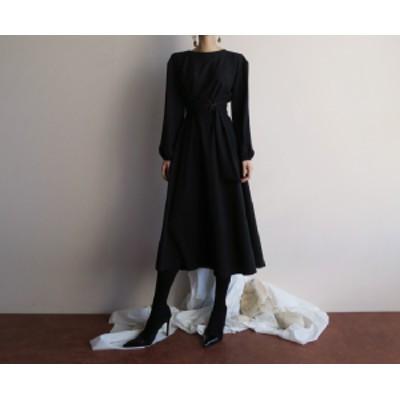ワンピース 春 ひざ下丈  カジュアル デート  上品 aライン  韓国 ファッション オルチャンファッション ウエストマーク ハイウエスト ブ