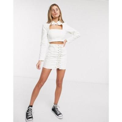 エイソス ASOS DESIGN レディース ミニスカート デニム レースアップ スカート denim corset lace up skirt co-ord in white ホワイト