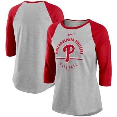 ナイキ Tシャツ トップス レディース Philadelphia Phillies Nike Women's Encircled TriBlend 3/4Sleeve Raglan TShirt Gray/Red
