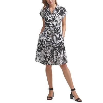 カルバンクライン ワンピース トップス レディース Tropical-Print Belted Shirtdress Black/Cream