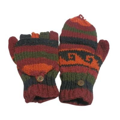 手袋 アジアン衣料 ネパール手編みカバー付き指なし手袋(フリース付)23  クリックポスト選択 送料200円