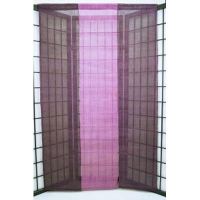 暖簾(のれん) 麻100% 生平三連紫 n-912