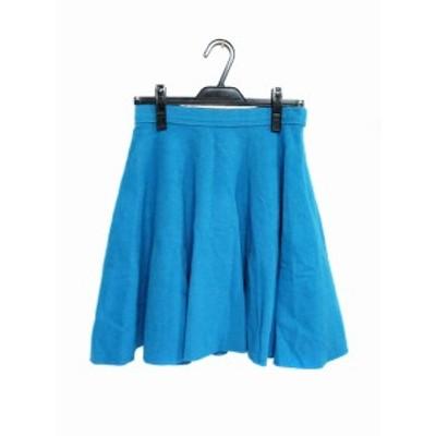 【中古】アクアガール aquagirl スカート フレア ひざ丈 カシミヤ混 38 青 ブルー レディース