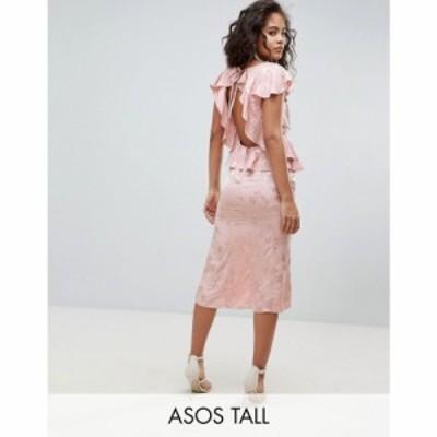 エイソス ASOS Tall レディース ワンピース ミドル丈 ASOS DESIGN Tall soft floral jacquard midi tea dress with ruffle hem ヌードカ