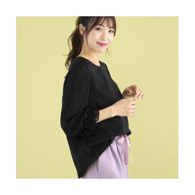 (Rose Tiara(L SIZE)/ローズティアラ エルサイズ)レース切替袖ブラウス/レディース ブラック