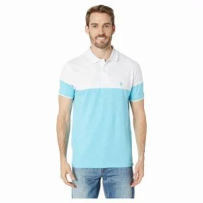 ユーエスポロアッスン ポロシャツ Color Block Jersey Polo Horizon Blue