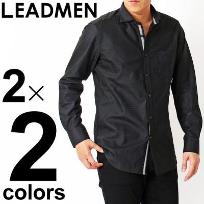 シャツ メンズ 長袖 スキッパーシャツ ドレスシャツ カジュアルシャツ 形態安定加工 ブロード 綿 シャドーチェック ホリゾンタル スキッパーカラー ビズカジ