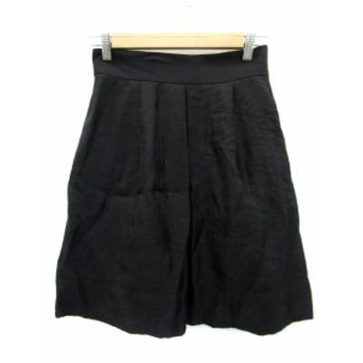 【中古】ロートレアモン LAUTREAMONT スカート ギャザー フレア ひざ丈 38 ブラック 黒 /MS8 レディース
