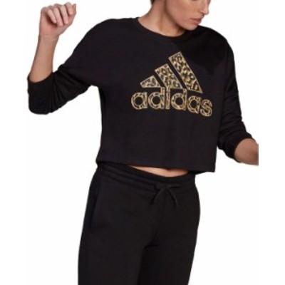 アディダス レディース シャツ トップス Women's Leopard Logo-Graphic Sweatshirt Black