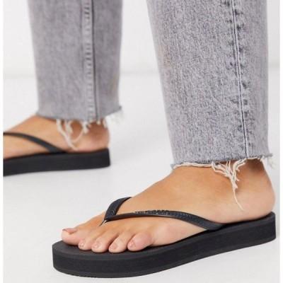 ハワイアナス Havaianas レディース ビーチサンダル シューズ・靴 flatform flip flop in black ブラック