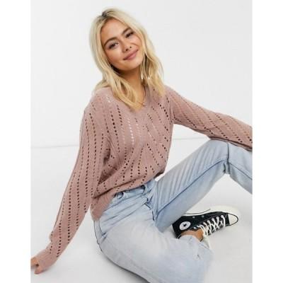 ジェイディーワイ レディース ニット・セーター アウター JDY pointelle knit sweater in pink