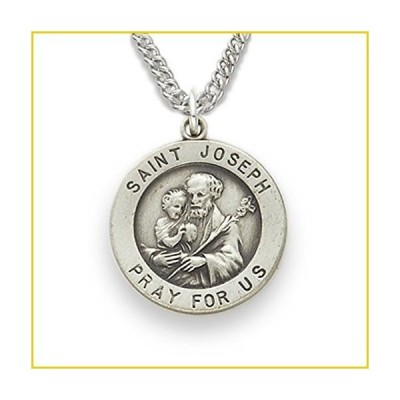TrueFaithJewelry Sterling Silver Round Catholic Saint Joseph Patron of Carpenters Medal, 3/4 Inch並行輸入品