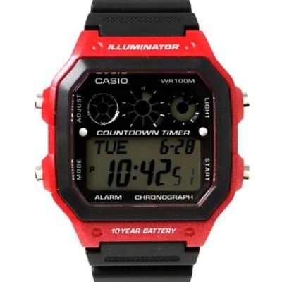 CASIO カシオ/ COUNTDOWN TIMER カウントダウン タイマー クォーツ ラバーベルト デジタルウォッチ AE-1300WH-1A A