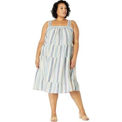ロンドンタイムス London Times レディース ワンピース 大きいサイズ Aライン ワンピース・ドレス Plus Size Hampton Stripe Tiered Midi Dress Denim