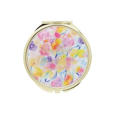 手鏡 ミラー 拡大鏡 キラキラ プレゼント コンパクトミラー フラワーパターン GMR0106-PK ピンク 雑貨 おしゃれ かわいい