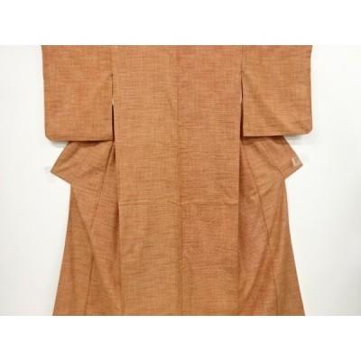 リサイクル 格子に抽象模様織出手織り紬着物