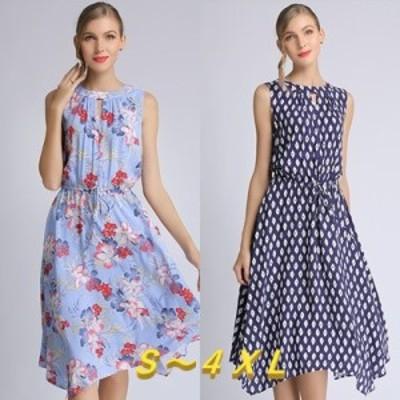 【 S ~ 4XL 】 大きいサイズ レディース ノースリーブ ミディアム ロング サマー ドレス スカート ワンピース 4l 3XL 3L