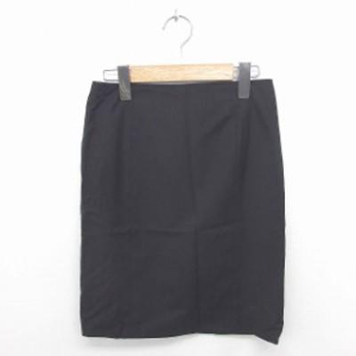 【中古】ボナジョルナータ BUONA GIORNATA スカート タイト ひざ丈 薄手 無地 スリット ウール S 黒 ブラック
