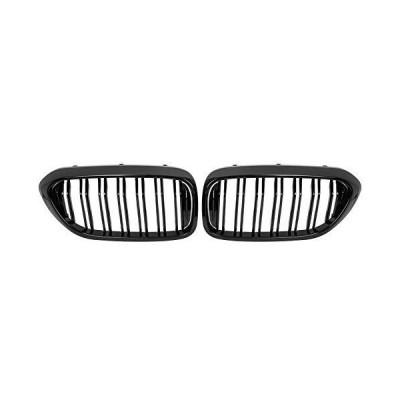 【並行輸入品】X AUTOHAUX 1ペア 光沢ブラック カーフード キドニーバー フロントグリル ダブルライン 4ド