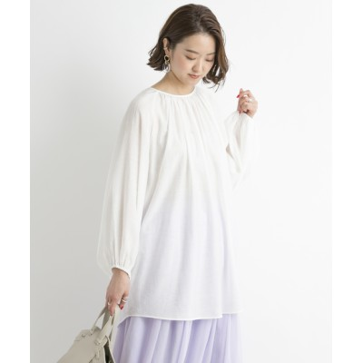 outlet/【DouDou】バックオープンギャザーブラウス
