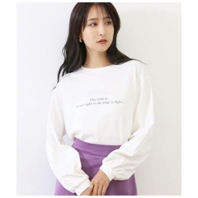 tシャツ Tシャツ メッセージプリント袖ボリュームロンT