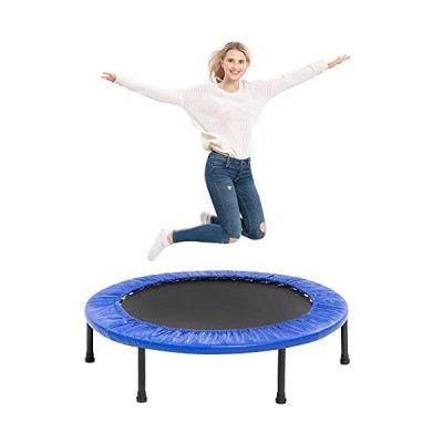"""送料無料!TURFEE 38"""" Mini Trampoline, 4-Way Folding Exercise Trampolines with Safety Pad, Fitness Rebounder Trampoline for Adults Kids"""