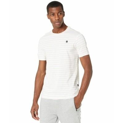 ジースター シャツ トップス メンズ Korpaz Stripe Gr Slim Round Neck T-Shirt Short Sleeve White/Whitebait Stripe