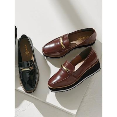 【大きいサイズ】<4E相当>幅広ゆったり厚底マニッシュシューズ 大きいサイズ シューズ(靴) レディース