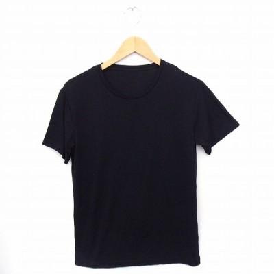 【中古】Tシャツ カットソー 丸首 半袖 無地 シンプル M ブラック 黒 /FT18 レディース 【ベクトル 古着】