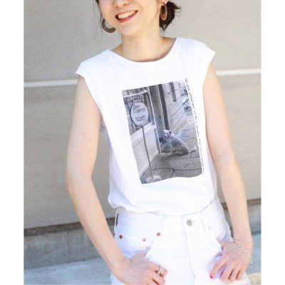 tシャツ Tシャツ 【小林昭/(KOBAK AKIRA)】SLOBE別注PARIS ノースリーブフォトTシャツ【洗濯機洗い可】◆
