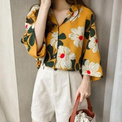 ブラウス レディース 春夏 ブラウス シフォントップス 花柄 半袖 Vネットシャツ 大きいサイズ 韓国風 UVカット オシャレ 大人 通勤  2色