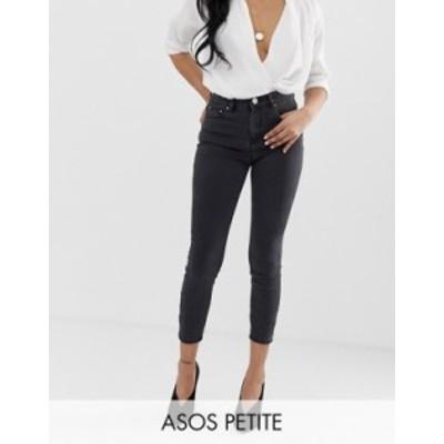 エイソス レディース デニムパンツ ボトムス ASOS DESIGN Petite high rise ridley 'skinny' jeans in washed black Black