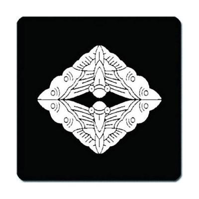 家紋 捺印マット 上下向かい蝶菱紋 11cm x 11cm KN11-1916W 白紋