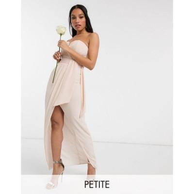 ティーエフエヌシー ミディドレス レディース TFNC Petite bridesmaid exclusive bandeau wrap midaxi dress with pleated detail in ecru エイソス ASOS