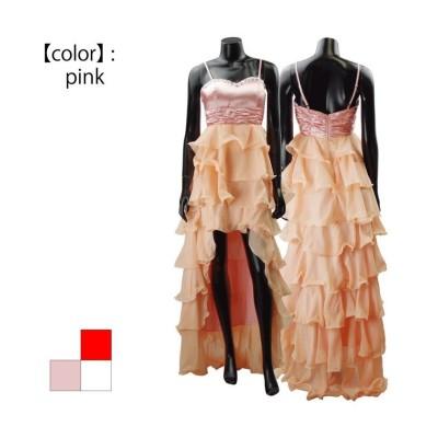 【アールエムストア】 サテンとシフォンのフリルロングドレス レディース ピンク フリー RM STORE