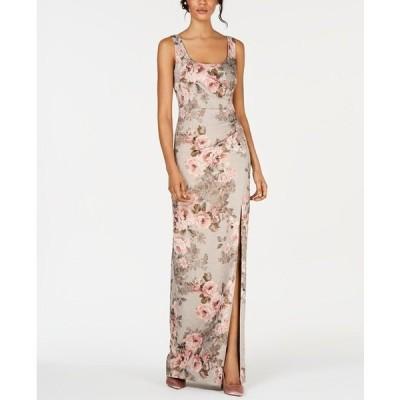 アドリアナ パペル ワンピース トップス レディース Metallic Floral-Print Gown Beige/Blush Floral