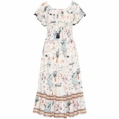 トリー バーチ Tory Burch レディース ワンピース ワンピース・ドレス Meadow Folly cotton midi dress ivory poetry of things