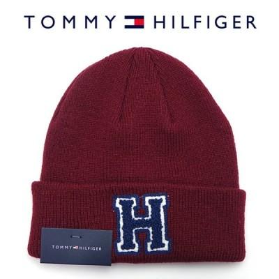 TOMMY HILFIGER トミーヒルフィガー 1CT0205 646 ニットキャップ ワイン メンズ レディース ユニセックス ニット帽 ワッペン