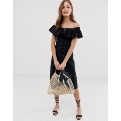 エイソス レディース ワンピース トップス ASOS DESIGN linen bardot midi dress Black