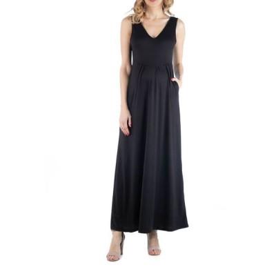 24セブンコンフォート レディース ワンピース トップス Maxi Maternity Sleeveless Dress with Pockets